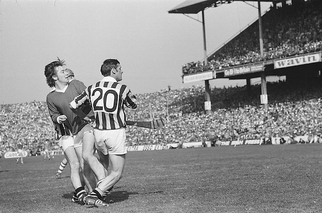 Cork and Kilkenny players collide while looking around for the ball during the All Ireland Senior Hurling Final, Cork v Kilkenny in Croke Park on the 3rd September 1972. Kilkenny 3-24, Cork 5-11.