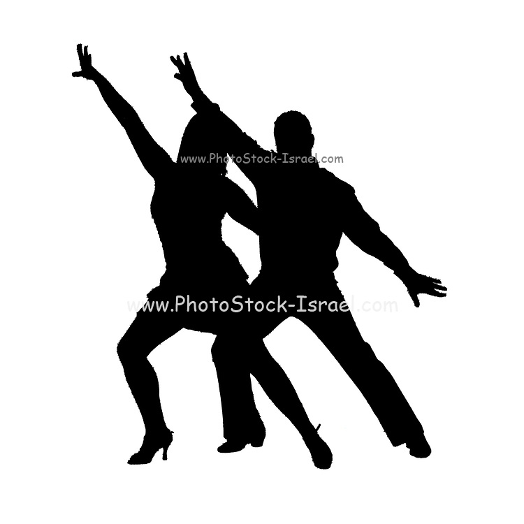 Digitally enhanced silhouette of a Couple ball room dancers On white Background