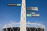 Main stadium signpost for local east London landmarks on the Greenway at the 2012 Olympic Park at Stratford.