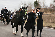 Traditional Sorbian Easter celebration on Sunday: More than 400 of so called Osterreiter (Easter Riders) will ride from village to village to sing and announce the resurrection of Jesus Christ.<br /> This tradition dates back at least to 1541. <br /> <br /> Wittichenau, District of Bautzen in Upper Lusatia, Saxonia, Germany on April 1, 2018.