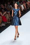 Glittery blue cap-sleeved dress. By Monique Lhuillier at Spring 2013 Fall Fashion Week in New York.
