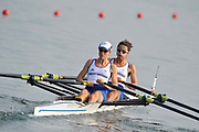 Shunyi, CHINA.   GBR LW2X  [Bow Hester GOODSELL and Helen CASEY] before the start of their Repechage, at the 2008 Olympic Regatta, Shunyi Rowing Course. Tuesday 12.08.2008  [Mandatory Credit: Peter SPURRIER, Intersport Images]