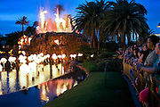 People have gathered to watch the Volcano display in front of The Mirage Hotel, on The Strip, Las Vegas, Nevada, USA.