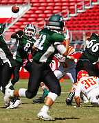 Manteca quarterback Dakarai Charles (8) passes the ball to a receiver against Oakdale during Friday Night Lights at Levi's Stadium in Santa Clara, California, on October 11, 2014. (Stan Olszewski/ Special to The Record)