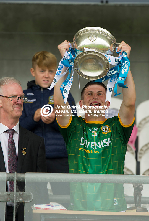 02-08-21. Meath v Dublin - Leinster MFC Final at O'Connor Park, Tullamore.<br /> Meath captain Liam Kelly, raising the Fr. Larry Murphy Leinster MFC Cup. <br /> Photo: John Quirke / www.quirke.ie<br /> ©John Quirke Photography, 16 Proudstown Road, Navan. Co. Meath. (info@quirke.ie / 046-9028461 / 087-2579454).