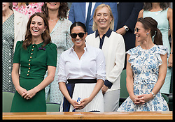 July 13, 2019 - London, London, United Kingdom - Image licensed to i-Images Picture Agency. 13/07/2019. London, United Kingdom. Kate Middleton, the Duchess of Cambridge ,Meghan Markle, the Duchess of Sussex and Pippa Middleton in the Royal Box at  the Ladies Final on day twelve of the Wimbledon Tennis Championships in London. (Credit Image: © Stephen Lock/i-Images via ZUMA Press)