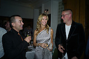 JULIAN MACDONALD; MELISSA ODABASH; GILES DEACON, Vogue's Celebration of Fashion Dinner in association with Creme de la Mer. the Albermarle, Browns Hotel. Albermarle st. London. 18 September 2008. *** Local Caption *** -DO NOT ARCHIVE-© Copyright Photograph by Dafydd Jones. 248 Clapham Rd. London SW9 0PZ. Tel 0207 820 0771. www.dafjones.com.