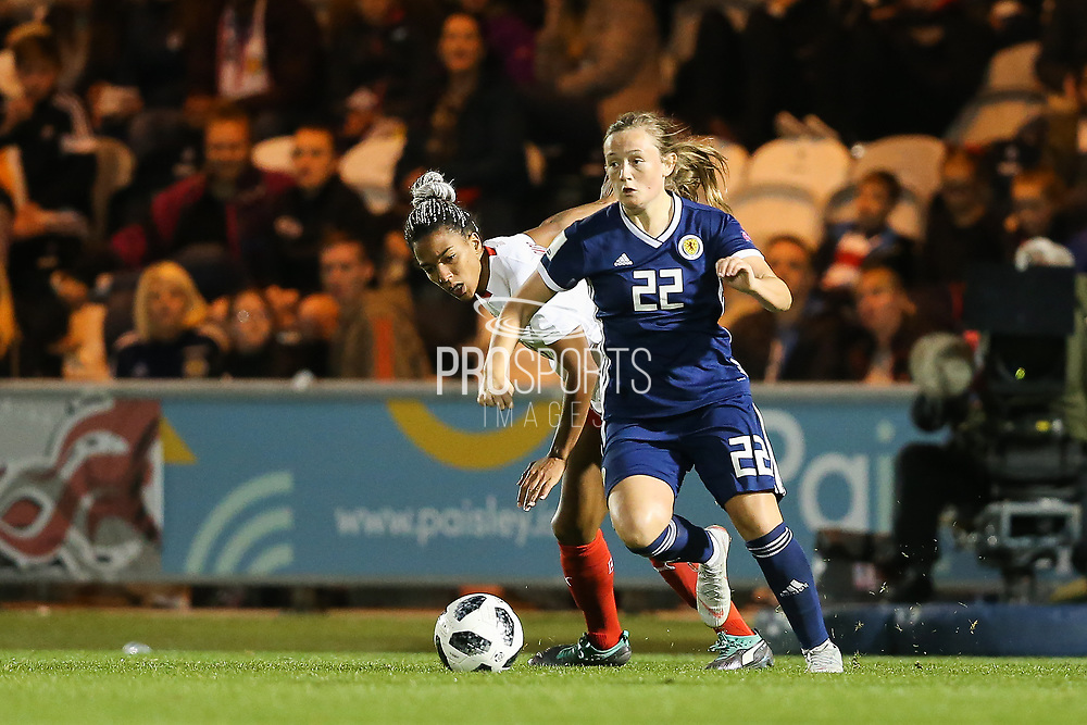Luana Buhler (#22) of Switzerland on the ball during the 2019 FIFA Women's World Cup UEFA Qualifier match between Scotland Women and Switzerland at the Simple Digital Arena, St Mirren, Scotland on 30 August 2018.