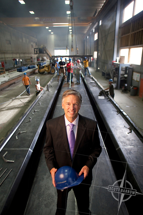 Perri Patricca, CEO of Petricca Industries & Unistress Corporation in Pittsfield, Massachusetts. Seen here with workers in his factory in one of the pre-stressed concrete construction bays.
