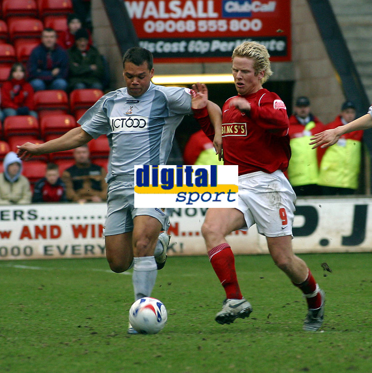 Photo: Dave Linney.<br />Walsall v Bradford City. Coca Cola League 1. 25/03/2006<br />Walsall's (R) keeps a close eye on Lewis Emanuel.