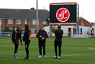 Blackpool players inspecting the pitch during the EFL Sky Bet League 1 match between Fleetwood Town and Blackpool at the Highbury Stadium, Fleetwood, England on 25 November 2017. Photo by Paul Thompson.