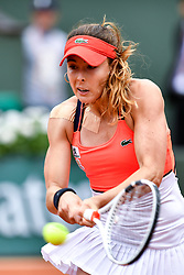 PARIS, June 3, 2017  Alize Cornet of France returns the ball to Agnieszka Radwanska of Poland during the women's singles 3rd round match at the French Open Tennis Tournament 2017 in Paris, France on June 3, 2017. (Credit Image: © Chen Yichen/Xinhua via ZUMA Wire)