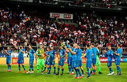 Players of Slovenia wave to their supporters after the 2020 UEFA European Championships group G qualifying match between Austria and Slovenia at Wörthersee Stadion on June 7, 2019 in Klagenfurt, Austria. Photo by Vid Ponikvar / Sportida