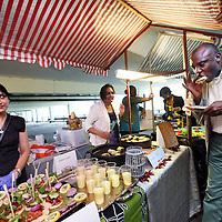 Nederland, Amsterdam , 23 mei 2014.<br /> World of Food kick of in parkeergarage bijlmerflat in de Bijlmer.<br /> - World of Food opent eind 2014 haar deuren: een overdekte marktin een spectaculair getransformeerde oude parkeergarage waar uheerlijk kunt ontbijten, lunchen en dineren bij kraampjes. Er is plekvoor 20 tot 30 ondernemende smaakmakers.<br /> <br /> Foto:Jean-Pierre Jans