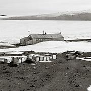 Scott's Cape Evans Hut with Barne Glacier Beyond