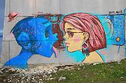 Graffiti on building Buzludzha monument former communist party headquarters, Bulgaria, eastern Europe