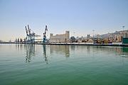 General view of the Port of Haifa, and the Dagon grain silos, Haifa, Israel