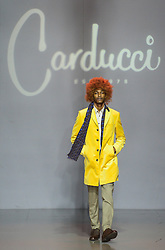 A model presents a creation from local brand CARDUCCI on the third day of Mercedes-Benz Fashion Week Joburg 2016 at Nelson Mandela Square in Johannesburg, South Africa on March 12, 2016. The Mercedes-Benz Fashion Week Joburg 2016, the largest and leading one in Africa, closed here Saturday. Creations by nearly 20 South African fashion designers have been presented in 14 shows of the past three days. EXPA Pictures © 2016, PhotoCredit: EXPA/ Photoshot/ Zhai Jianlan<br /> <br /> *****ATTENTION - for AUT, SLO, CRO, SRB, BIH, MAZ, SUI only*****