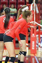 28 September 2014:  Eliza Smith during an NCAA womens volleyball match between the Evansville Purple Aces and the Illinois State Redbirds at Redbird Arena in Normal IL