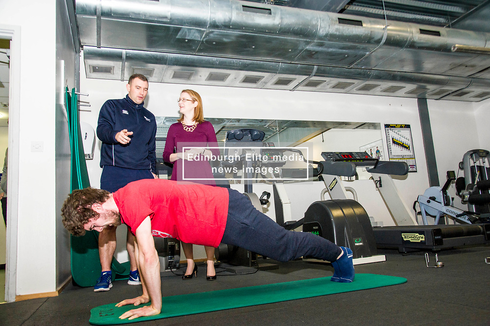 Pictured: Edinburgh College Sports coordinator Ryan Mahoney took the minister on a tour of the facilities at Edinburgh College..<br /> <br /> Further and Higher Education Minister Shirley-Anne Somerville visited Edinburgh College's Granton campus to view the sport facilities and to announce a new GBP465,000 investment fund for the student sport sector.<br /> <br /> Ger Harley   EEm 8 February 2018