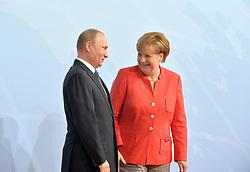 July 7, 2017 - Hamburg, Deutschland - Vladimir Putin, Angela Merkel.G20 SUMMIT: Official Welcome of the G20 leaders, Hamburg, Germany - 07 Jul 2017.Credit: MichaelTimm/face to face (Credit Image: © face to face via ZUMA Press)