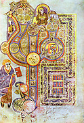 Opening words of St Matthew's Gospel 'Liber Generationes'. From 'The Book of Kells'. 6th century manuscript of the Four Gospels