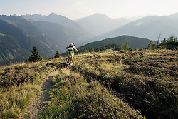 Rear view of mountain biker riding on uphill, Zillertal, Tyrol, Austria