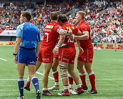 March 10, 2018 - Vancouver, British Columbia, U.S. - VANCOUVER, BC - MARCH 10: Canada players celebrate Pat Kay (#10)'s try during Game # 7- Australia vs Canada Pool A match at the Canada Sevens held March 10-11, 2018 in BC Place Stadium in Vancouver, BC. (Photo by Allan Hamilton/Icon Sportswire) (Credit Image: © Allan Hamilton/Icon SMI via ZUMA Press)