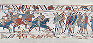 Bayeux Tapestry scene 51b: The Norman cavalry charge the Saxon foot solders. .<br /> <br /> If you prefer you can also buy from our ALAMY PHOTO LIBRARY  Collection visit : https://www.alamy.com/portfolio/paul-williams-funkystock/bayeux-tapestry-medieval-art.html  if you know the scene number you want enter BXY followed bt the scene no into the SEARCH WITHIN GALLERY box  i.e BYX 22 for scene 22)<br /> <br />  Visit our MEDIEVAL ART PHOTO COLLECTIONS for more   photos  to download or buy as prints https://funkystock.photoshelter.com/gallery-collection/Medieval-Middle-Ages-Art-Artefacts-Antiquities-Pictures-Images-of/C0000YpKXiAHnG2k