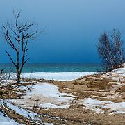 Lake Michigan Meets Winter Sand