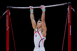 August 9, 2018 - Glasgow, UNITED KINGDOM - 180809 Odin KalvÂ¿ of Norway competes at the horizontal bar in the qualification of Men's Artistic Gymnastics during the European Championships on August 9, 2018 in Glasgow..Photo: Jon Olav Nesvold / BILDBYRN / kod JE / 160290 (Credit Image: © Jon Olav Nesvold/Bildbyran via ZUMA Press)