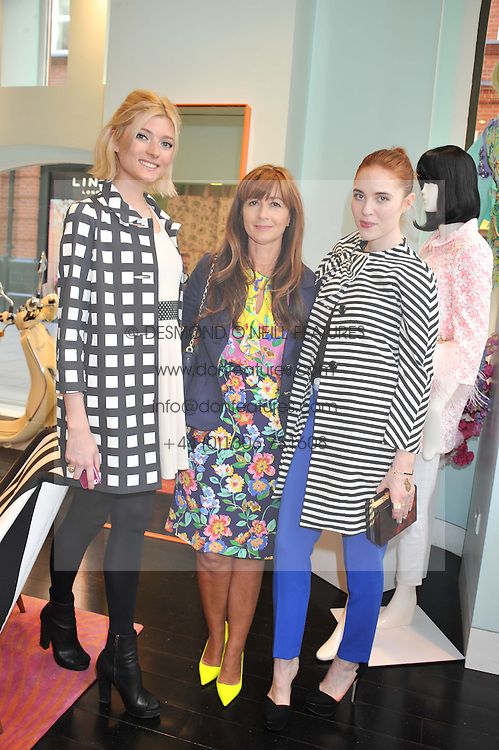 Left to right, SOPHIE SUMBER, DEBORAH LLOYD and ANGELA SCANLON at the Kate Spade NY hosted Chelsea Flower Show Tea Party held at Kate Spade, 2 Symons Street, London on 23rd May 2013.