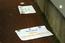 18 February 2017 - The FA Cup - (5th Round) - Wolverhampton Wanderers v Chelsea - Pieces of paper litter the floor bearing the name of Helder Costa of Wolverhampton Wanderers, comparing him to Diego Costa of Chelsea - Photo: Marc Atkins / Offside.