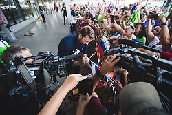 Luka Doncic with fans during arrival of Slovenian national team from Tokio 2020 Olympic games, 8. August 2021, Airport Jozeta Pucnika, Ljubljana, Slovenia. Photo by Grega Valancic