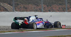 Torro Rosso's Alexander Albon spins on his opening lap during day two of pre-season testing at the Circuit de Barcelona-Catalunya.