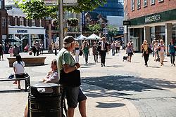 Chelmsford town centre pedestrianised shopping High Street. Essex UK