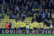 Watford defender Christian Kabasele (27) celebrates after scoring to make the score 1-0 to Watford during the The FA Cup 3rd round match between Watford and Burton Albion at Vicarage Road, Watford, England on 7 January 2017. Photo by Richard Holmes.