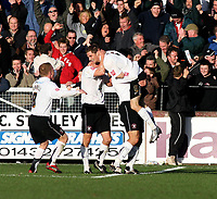 Photo:Mark Stephenson,Herford united v Port vale.<br />fa cup 2-11-2006.Herefords Robert Purdie scores his secound goal.