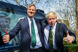 © Licensed to London News Pictures. 12/04/2016. London, UK. Conservative's Mayor of London candidate ZAC GOLDSMITH and current Mayor of London BORIS JOHNSON posing together after Zac's manifesto launch at Open Door Community Centre in Wimbledon on Tuesday, 12 April 2016. Photo credit: London News Pictures