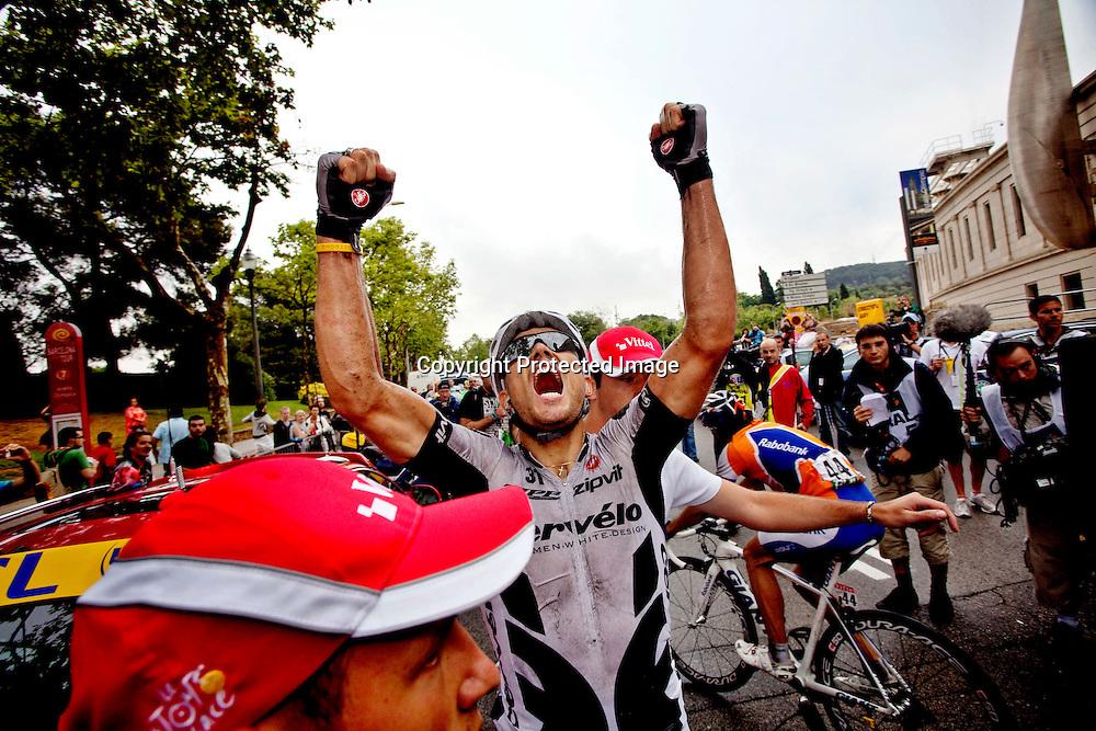 BARCELONA SPANIA 20090709..Tour de France 6 etappe. ..Thor Hushvod jubler for sin 7. etappeseier i Tour de France. Av dem som deltar i årets ritt er det bare Lance Armstrong som har flere etappeseirer...FOTO: DANIEL SANNUM LAUTEN