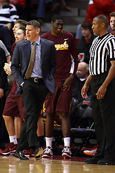06 January 2016: Porter Moser shows some motions and some sideline antics near Roland Simmons during the Illinois State Redbirds v Loyola-Chicago Ramblers at Redbird Arena in Normal Illinois (Photo by Alan Look)