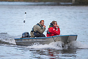 Mortlake, Greater London. 11th December 2019, Oxford Women's University Trial Eights,   [L] OUWBC Head Coach; Andy NELDER,  with Assistant, Putney to Mortlake, River Thames, [Mandatary Credit: Peter SPURRIER/Intersport Images],