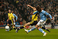Photo: Jed Wee.<br /> Manchester City v Aston Villa. The FA Cup. 14/03/2006.<br /> <br /> Manchester City's Georgios Samaras (R) strikes to give his team the lead.