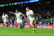 Jonny May of England scores his teams 1st try.  Rugby World Cup 2015 pool A match, England v Wales at Twickenham Stadium in London, England  on Saturday 26th September 2015.<br /> pic by  Andrew Orchard, Andrew Orchard sports photography.