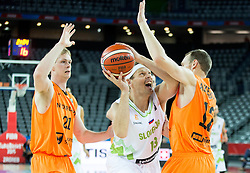 Miha Zupan of Slovenia vs Kees Akerboom of Netherlands during basketball match between Slovenia vs Netherlands at Day 4 in Group C of FIBA Europe Eurobasket 2015, on September 8, 2015, in Arena Zagreb, Croatia. Photo by Vid Ponikvar / Sportida