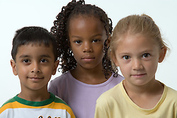 Portrait of three young children,