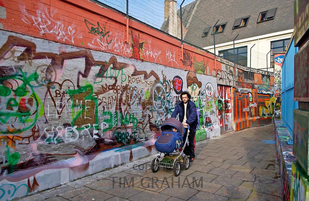 Graffiti walls  in Werregaren Straat, Ghent. Belgium