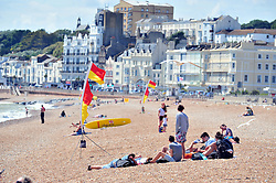 © Licensed to London News Pictures. 17/07/2018<br /> Hastings, UK.<br /> Hot heatwave weather in Hastings on the seafront as people enjoy their day.<br /> Photo credit: Grant Falvey/LNP