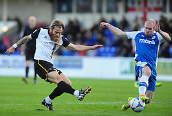 Bristol Rovers' Stuart Sinclair shot is blocked by Chester's Gareth Roberts - Photo mandatory by-line: Neil Brookman/JMP - Mobile: 07966 386802 - 22/11/2014 - Sport - Football - Chester - Deva Stadium - Chester v Bristol Rovers - Vanarama Football Conference