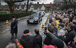 © Licensed to London News Pictures. 01/02/2017. Watford, UK. The coffin of former England football team manager Graham Taylor arrives St Mary's Church in Watford, Hertfordshire. The former England, Watford and Aston Villa manager,  who later went on to be chairman of Watford Football Club, died at the age of 72 from a suspected heart attack. Photo credit: Peter Macdiarmid/LNP